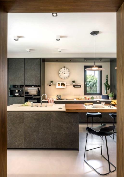 Natrual design lakás nappali és konyha pult